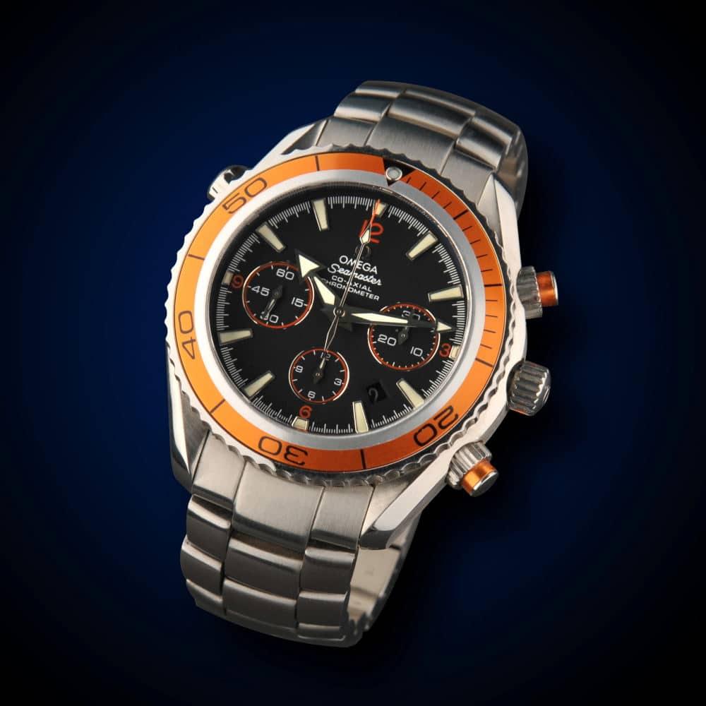 Product Photography of stylish Omega watch