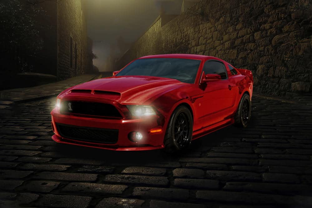 Product Photography of a red Mustang