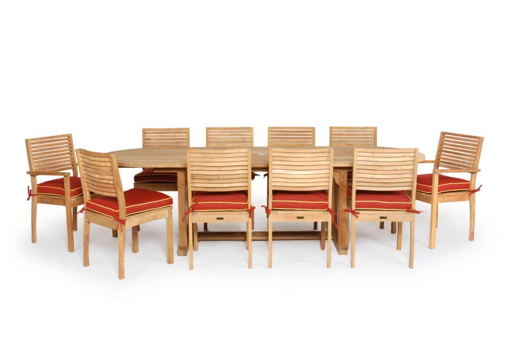 Product Photography of a set of a large teak dining set
