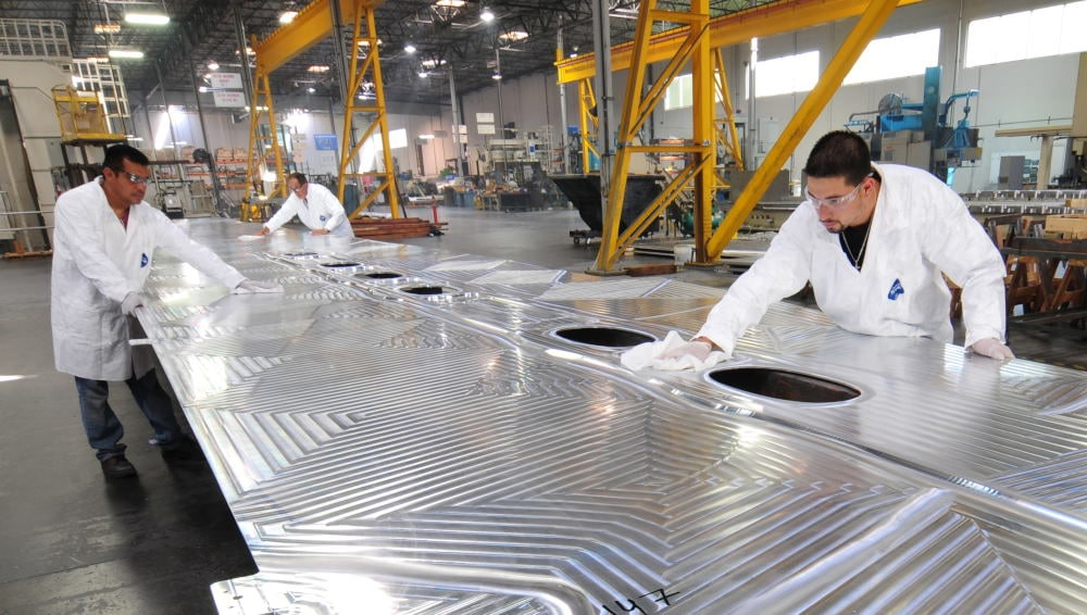 Industrial Photography airplane wing fabrication