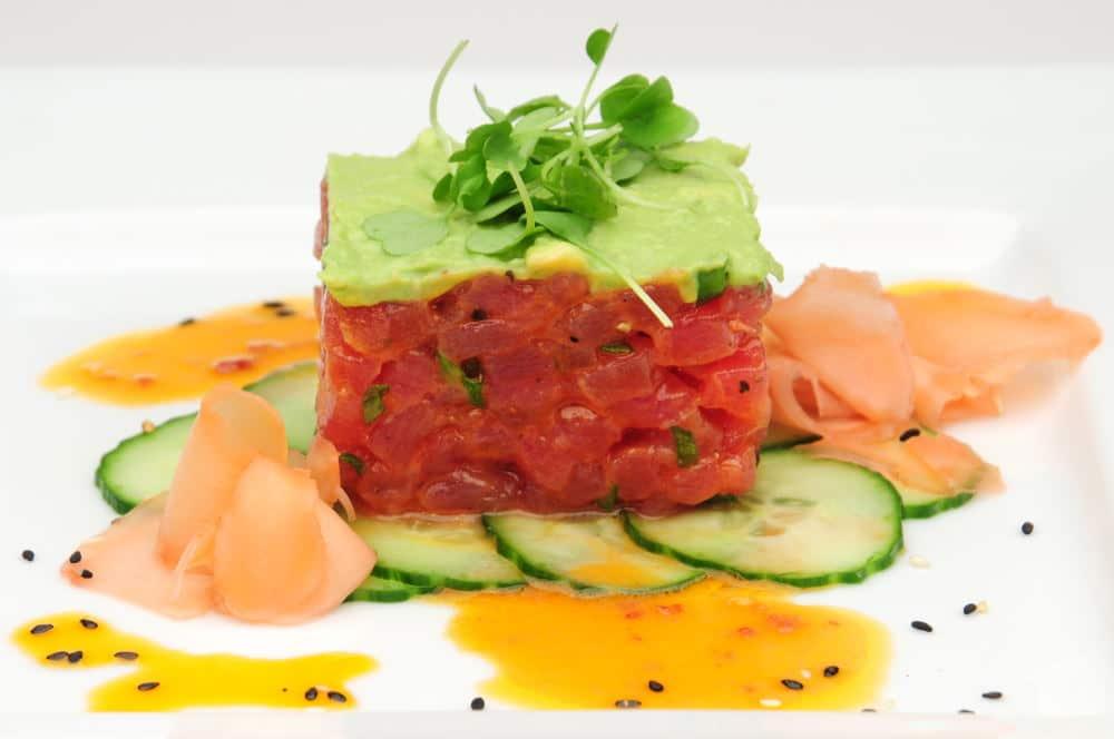 Food Photography of tuna tartar and ginger