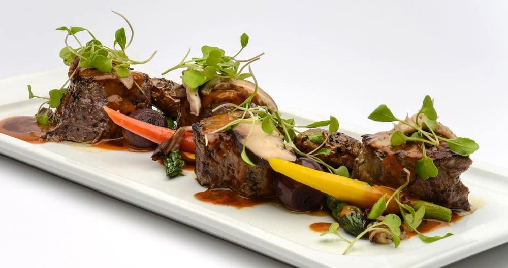 Food Photography of lamb chops plate