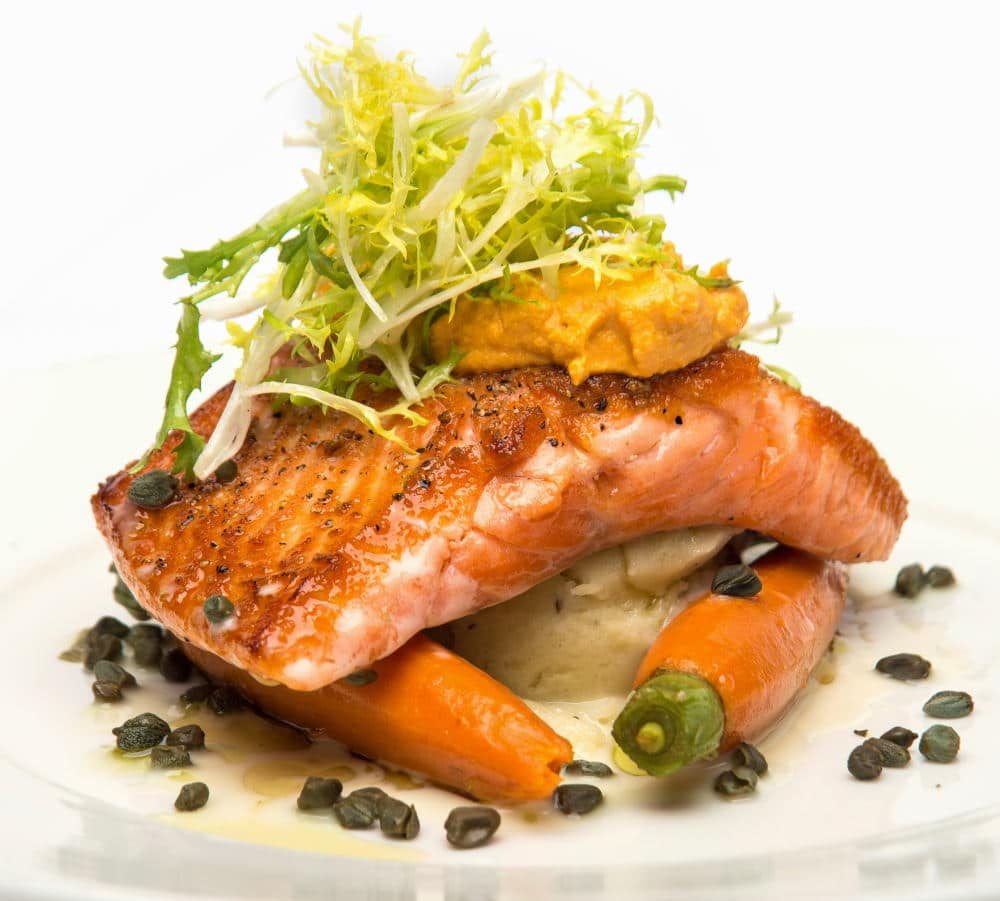Food Photography of salmon plate