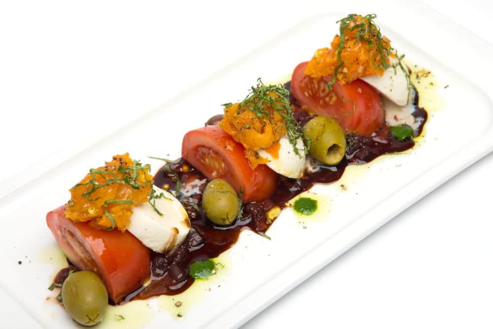 Food Photography of tomato and cheese plate
