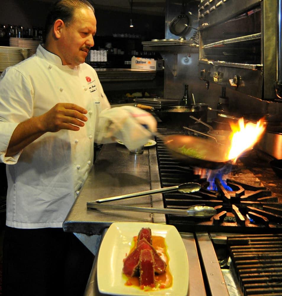 Food Photography chef preparing Ahi Tuna